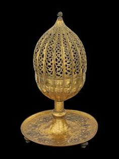 vvv late 17th century, turkey - an ottoman gilt-copper ( tombak ) incense burner