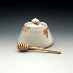White porcelain honey pot with bees buzzing by emilymurphy on Etsy, $50.00