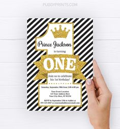 This editable and printable prince 5x7 invitation is perfect for a boy's first birthday party themed in black and gold! Prince Birthday Party, Boy First Birthday, First Birthday Parties, First Birthdays, Edit Online, 1st Birthday Invitations, Printing Companies, Stationery, Printables