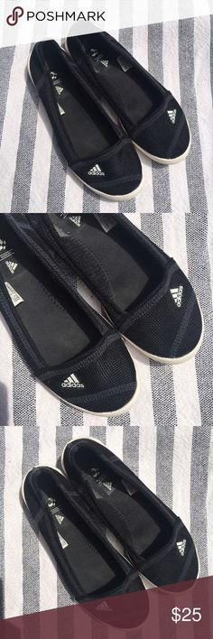Adidas Women's Slip-on boat shoe size 7 Super cute adidas slip-on flats.  Mesh great for the water plus grippy traxion soles.  Great for the water and keeping your feet cool in the heat.  Size 7. Used but great condition. No trades, thank you. adidas Shoes Flats & Loafers