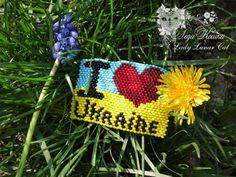 #fashion #art #jewelry Beaded Brooch I love Ukraine by Lady Lunar Cat. Authors design, Czech seed beads.
