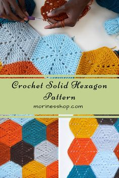 How to crochet a basic solid hexagon. A detailed tutorial with pictures to guide you. #crochethexagon #crochetsolidhexagon #crochethexies #crochet #crochettutorial #crochetblanket