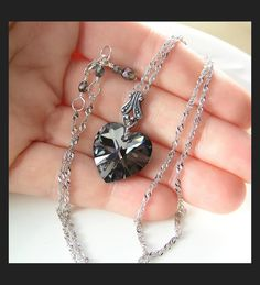 Platinum Gray Heart Necklace Aurora Swarovski by DorotaJewelry, $36.00