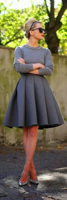 Glamorous look with skirt and embellished neckline sweater