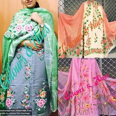 What is Your Painting Style? How do you find your own painting style? What is your painting style? Many aspiring … Saree Painting, Dress Painting, Fabric Painting, Paint Fabric, Painting Art, Embroidery Suits Punjabi, Embroidery Suits Design, Hand Embroidery, Embroidery Designs
