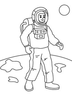 A Figure Of Astronaut On The Moon Surface Coloring Page - Download & Print Online Coloring Pages for Free   Color Nimbus Colorful Pictures, More Pictures, Moon Surface, Online Coloring Pages, Free Coloring, Coloring Sheets, Image, Everything