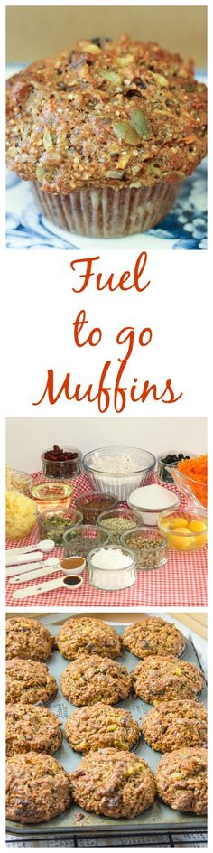 Fuel to Go Muffins The best muffins ever! Fuel to Go Muffins are super healthy muffins with chia hemp pumpkin sunflowers seeds mixed with fresh carrots and apple and dried fruit! Source by cocoonapothecary Healthy Muffin Recipes, Healthy Muffins, Healthy Sweets, Healthy Baking, Healthy Snacks, Healthy Sugar, Healthy Breakfasts, Paleo Recipes, Delicious Recipes