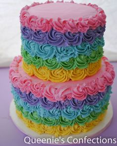 Rainbow rosette cake - the inside layers matched the frosting layers!