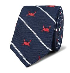 <a href='http://www.mrporter.com/mens/Designers/Thom_Browne'>Thom Browne</a>'s silk-jacquard tie is woven with diagonal stripes and red crabs - a lighthearted reference to the label's Spring '17 inspiration. It's unlined to showcase the expert workmanship and will look best paired with a plain white shirt.