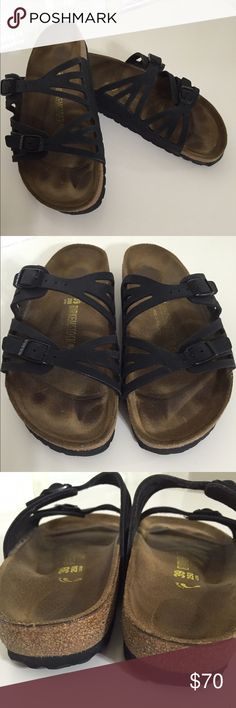 Birkenstocks Black double strap Birkenstocks. Size EUR 39, USA L8. Very clean with only the footbed staining. Soles clean. Like new without the new price. Just to big for me. Birkenstock Shoes Sandals