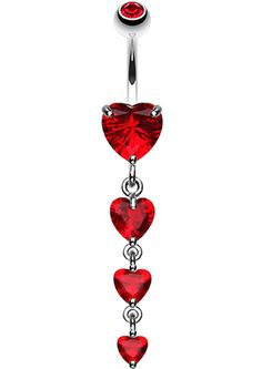 Brilliant Heart Cascade Belly Button Ring - 14 GA (1.6mm) - Red - Sold Individually