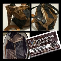 My latest bag. Two outside pockets, three inside PVC & Leather pockets. Zip top. Made from recycled leather jackets. Hand made in Tasmania - Australia