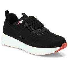 Prada Nylon Lace-Up Trainers featuring polyvore women's fashion shoes sneakers apparel & accessories flatform sneakers round cap flatform trainers laced shoes lacing sneakers