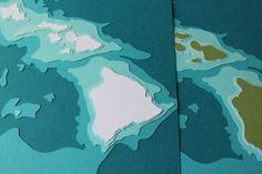 Hawaiian Islands  8 x 10 layered papercut art by Crafterall, $40.00