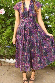 Mood Fabrics Liberty of London Burdastyle Dress - Burda Midi Dress Dress Patterns Uk, Style Patterns, Mood Fabrics, Dress Tutorials, Down South, Liberty Of London, Sewing Clothes, Boho Dress, Bohemian Dresses
