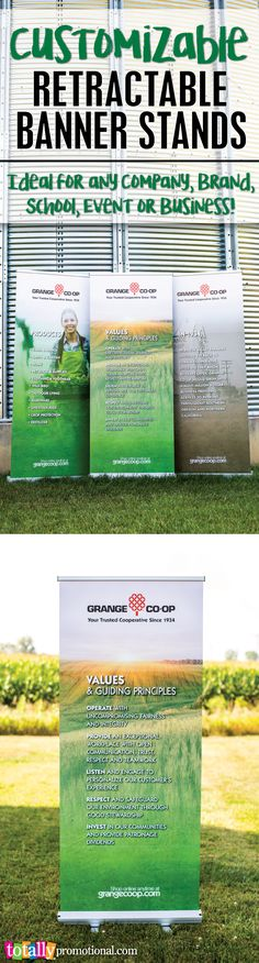 Customizable retractable banner stands are ideal for ANY company, brand, school, event or business! Our banner stands are printed on high quality, 14 oz. stay-flat vinyl and can be upgraded to 600D dye sublimated polyester fabric. These are easy to transport and set up at trade shows, presentations, conferences & more! Use coupon code PINBANNER10 and receive 10% Off! Sale applies to all banner stands products. Not valid with other coupon codes and expires December 31, 2016. #bannerstand