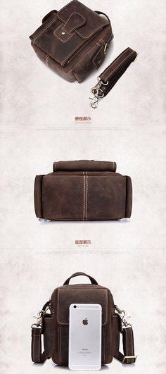 cb08440ecf Multi-function Genuine Leather Male Bags Vintage Totes Bags Crazy Horse  Leather Men Messenger Bags Travel Shoulder Bag