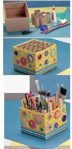 Love this storage idea using cardboard tubes inside a decorated cardboard box!DIY holder for pencils, markers, scissors, paint brushes, pensVery handy idea Cardboard Storage, Cardboard Box Crafts, Diy Storage Boxes, Paper Crafts, Cardboard Tubes, Cardboard Box Ideas For Kids, Art Storage, Storage Ideas, Kids Crafts