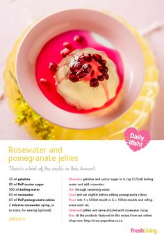 A South African summer Christmas is all about light, fresh flavours. Whip up these and as an eye-catching dessert! No Bake Desserts, Dessert Recipes, Yummy Treats, Delicious Desserts, Pomegranate Jelly, Summer Christmas, Exotic Food, Recipe Search, Fabulous Foods