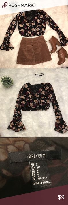 Forever 21 bell sleeve floral crop top -size small Forever 21 bell sleeve floral crop top - size small - excellent condition - worn once - whole outfit available for purchase Forever 21 Tops Crop Tops