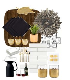 """Gold Dining"" by haileydanielletaylor ❤ liked on Polyvore featuring interior, interiors, interior design, home, home decor, interior decorating, Home Source International, CB2, Royal Doulton and Libbey"