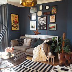 Dark interiors, Farrow and Ball Stiffkey blue, Interior Styling - Kerry Lockwood - In Detail