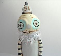 Halloween White and Gray Creep Stumpies clay by indigotwinholiday, $15.00
