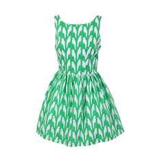 Parrot Prints Green Cute Retro Sundress ($38) ❤ liked on Polyvore