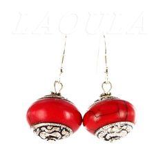 Boucles d'oreilles corail rouge en argent, bijoux création Toulouse.