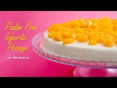Pudim Frio de Iogurte e Pêssego  1 lata de pêssego em calda com 850g 2 pacotes de gelatina de pêssego em pó para 1 litro 500g de iogurte natural 300 ml de natas light 200g de açúcar  Receita no video