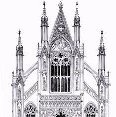 gothic facade by *dashinvaine on deviantART - Art Inspiration - Architecture Gothic Architecture Drawing, Architecture Antique, Cathedral Architecture, Architecture Art Design, Architecture Graphics, Historical Architecture, Die Renaissance, Gothic Windows, Gothic Buildings