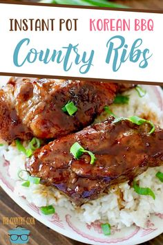 These fall-off-the-bone Instant Pot Korean BBQ Country Style Ribs are easy to make and it's a whole meal (including rice) made in one pot! Best Pressure Cooker Recipes, Instant Pot Pressure Cooker, Pressure Cooking, Slow Cooker, Crockpot Recipes, Chicken Recipes, Cooking Recipes, Easy Family Dinners, Easy Meals