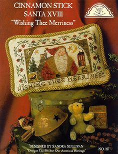 "Cinnamon Stick Christmas XVIII ""Wishing Thee Merriness"" by Homespun Elegance chart $7.56 on ABC Stitch Therapy at http://www.abcstitch.com/designers_php/designers.php?page=4=Homespun+Elegance="
