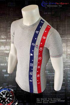 T shirt CHRONOWEAR ROLEX GMT MASTER - Grey Melange with Pepsi Linen Insert - infos : info@chronowear.it