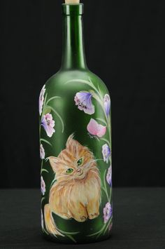 1.5 Ltr. Hand Painted Lighted Wine Bottle / Orange by ArteeVita