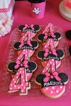 Cute cookies at a Minnie Mouse party! See more party planning ideas at CatchMyParty.com!