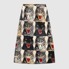 Tiger Face silk skirt - Gucci Women's Skirts 476650ZJX059460