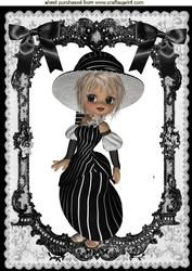 Little Lady In Black Lace Frame With Bows A4