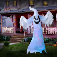 Inflatable Fire & Ice Ghost Halloween decoration  Why settle for slightly spooky when you can have a fire-and-ice inflatable ghost haunting your lawn? This nine-foot-tall white ghost has an internal lightshow that adds an illuminated, changing glow.