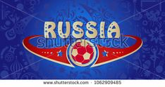 2018 New collection World Cup Soccer. Welcome to Russia inscription gold text invitation abstract world cup background. Russian folk art tradition elements, balalaika, sports symbols, soccer ball, firework championship blue pattern vector concept modern design. FIFA 2018