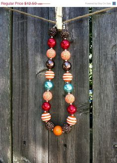 ON SALE Thanksgiving/Fall/Rustic Big Bead Children's Babies Chunky Bubblegum Necklace
