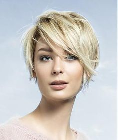 A Short Blonde straight coloured side-parting layered bob womens haircut hairstyle by Saint Algue