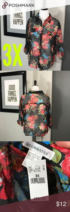 🌟NWT🌟 sheer floral chiffon button-up 🌟NWT🌟 floral chiffon button-up. Beautiful sheer top. Will. Red a cami underneath. 3/4 sleeve with buttoned tab to keep them cinched up. Tops Button Down Shirts