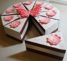 Caixas de  lembrancinhas em formato de fatias de bolo!l - Acesse: https://pitacoseachados.wordpress.com #pitacoseachados