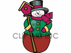 graphicsfactory membership 20 a month or 50 a year  Several formats including vector. Clip art of Snowman Holding a Single Bird House. | 144103