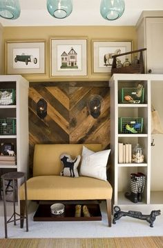 Entry way organization option - love the idea of a bench or wide chair for putting on shoes, and a different backdrop behind - maybe some sconces?