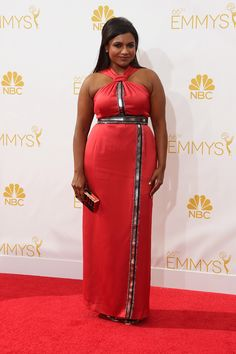Mindy Kaling on the red carpet at the 66th annual Emmys Awards. Love her skin color. She needs to lift the boobs