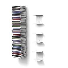 3 weisse unsichtbare Bücherregale mit 6 Fächern bis zu 150 cm hohen Bücherstapel für Bücher bis zu 22 cm Tiefe.