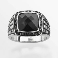 Sterling silver .24-ct. t.w. black diamond & onyx ring - men on shopstyle.com
