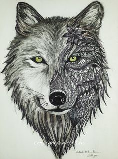 Realistic or zentagle - wolf drawing - Art365